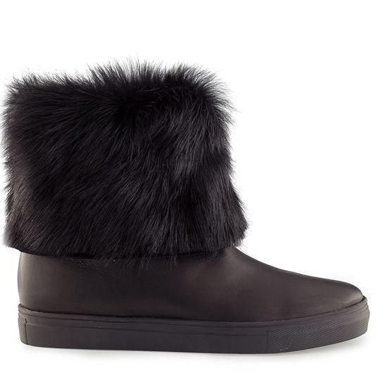 winter boots, leather boots, slippers, leather calf + fur, fur inside sole of natural rubber boots Vitello 4102 NERO