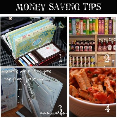 Money Saving Tips. Cash envelopes, batch cooking, how to stockpile, family balance sheet, and many more ideas.