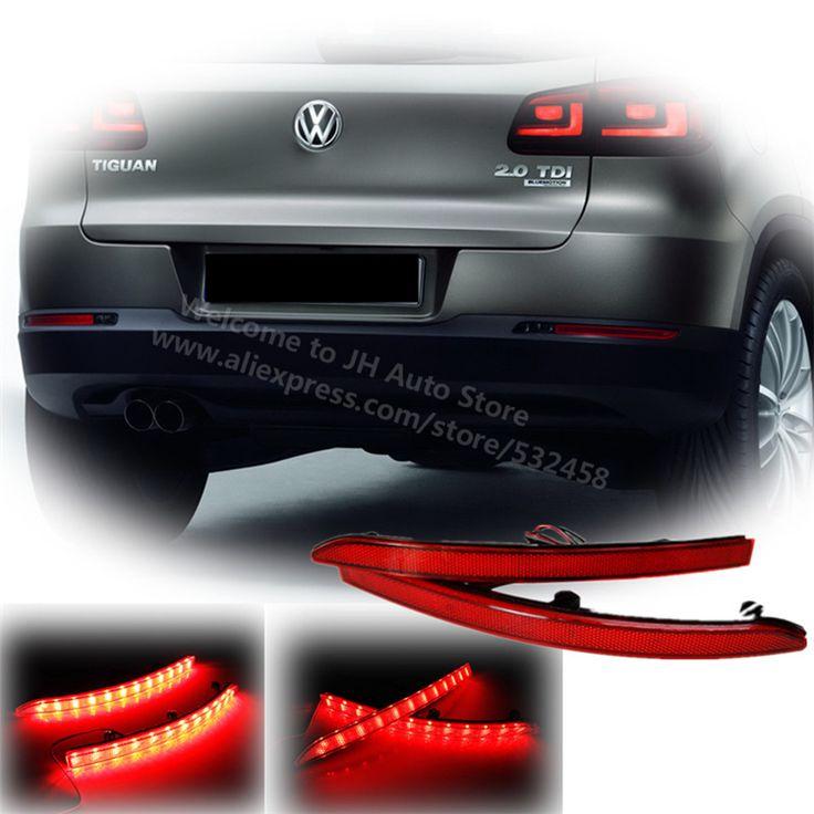 Bright Red Lens Auto LED Rear Reflectors Light for Volkswagen Tiguan 2011-2012 Car Tail Fog Lamp Brake Stop Night Running Lights