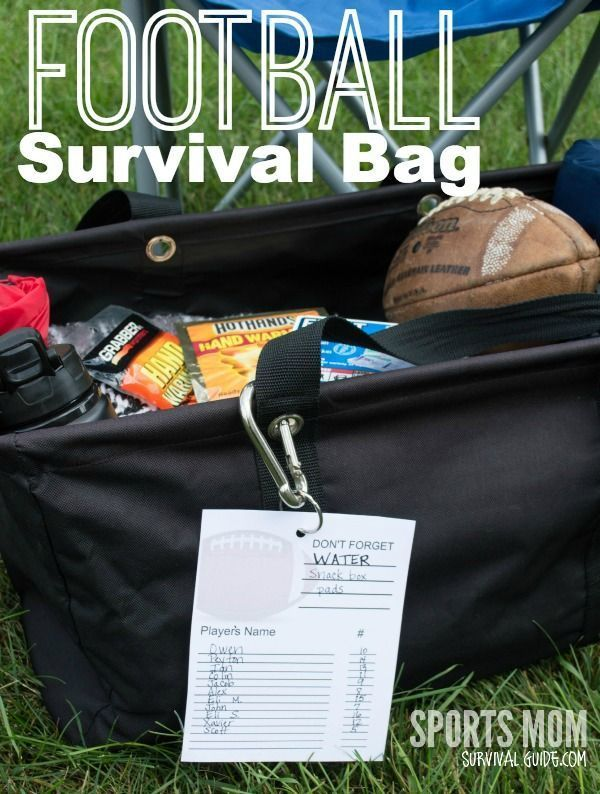 Football Survival Bag Essentials...Don't leave home without these things, whether you are a coach, parent or the team mom, be prepared! Plan on loading this bag in your car at the first of the season an you will be prepared for every practice, game or emergency! organized soccer mom soccer mom organization #organize #soccermom #soccer