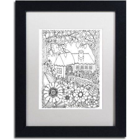 Trademark Fine Art Cottage Canvas Art by KCDoodleArt White Matte, Black Frame, Size: 16 x 20, Assorted