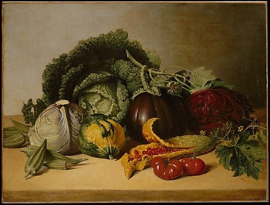 James Peale (American, 1749–1831). Still Life: Balsam Apple and Vegetables, ca. 1820s. The Metropolitan Museum of Art, New York. Maria DeWitt Jesup Fund, 1939 (39.52) | With its focus on lavish vegetable forms, this work resembles still lifes of the Spanish school.: Still Life, Food, James D'Arcy, Vegetables, Life Art, Balsam Apple, Apples, Painting