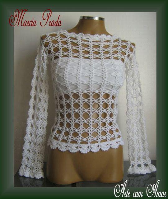 AS RECEITAS DE CROCHÊ: Blusa rendada em crochê