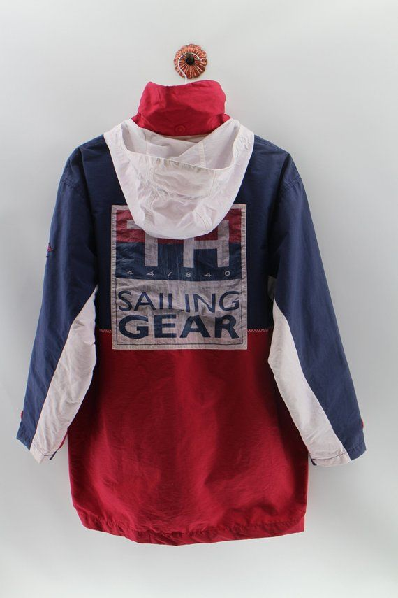 c9bca5850b4b21 TOMMY HILFIGER SAILING Gear Jacket Medium Vintage 90 s Tommy Hilfiger  Sailing Gear Color block Heavy Jacket