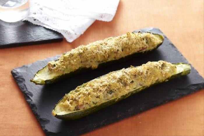 Recette de Courgettes farcies aux légumes et au bacon