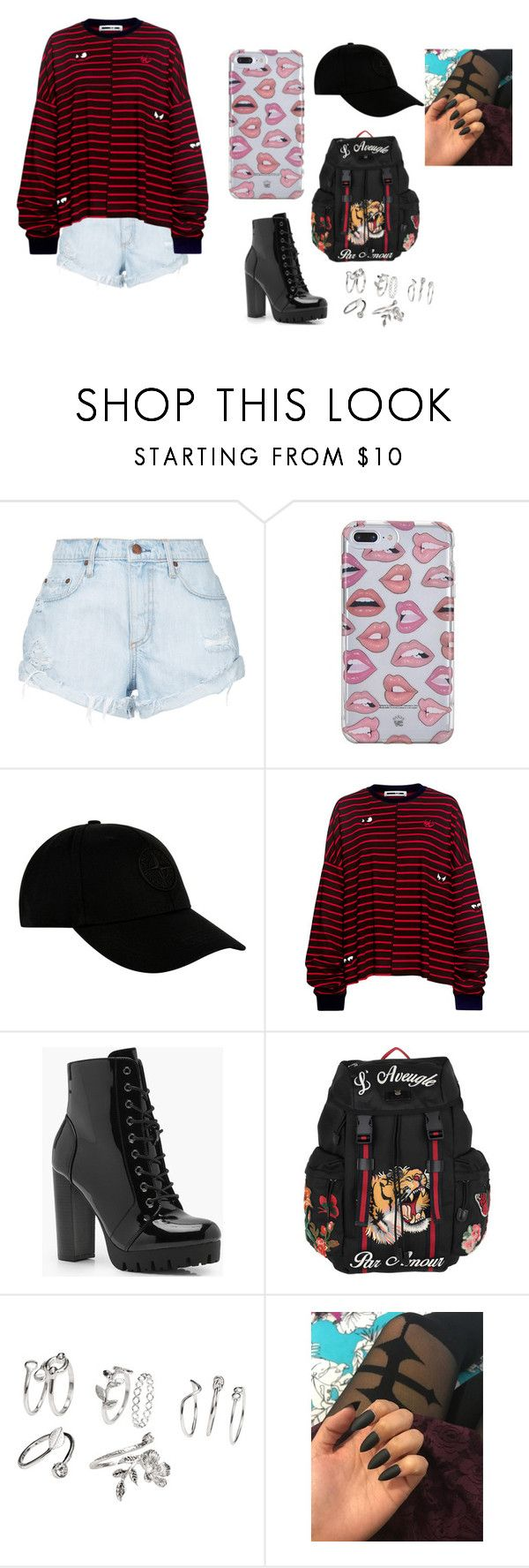 """""""Sem título #1190"""" by samaralucia ❤ liked on Polyvore featuring Nobody Denim, STONE ISLAND, McQ by Alexander McQueen, Boohoo and Gucci"""