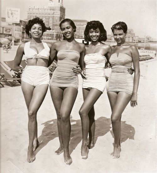 1950s bathing beauties, when women were curvy and beautiful, not the scarecrows we have held up to us now.