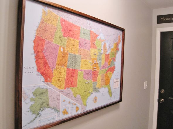DIY Travel Map Pin Board Less than 50 bucks for a giant wall map – Travel Wall Maps With Pins