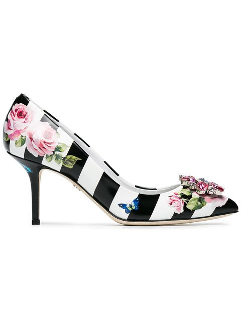 Dolce Amp Gabbana Floral Print Striped 60 Pumps