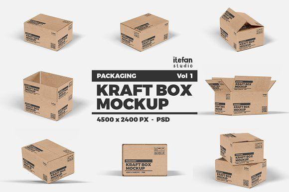 Download Kraft Box Mockup Packaging Vol 1 Box Mockup Packaging Mockup Kraft Boxes