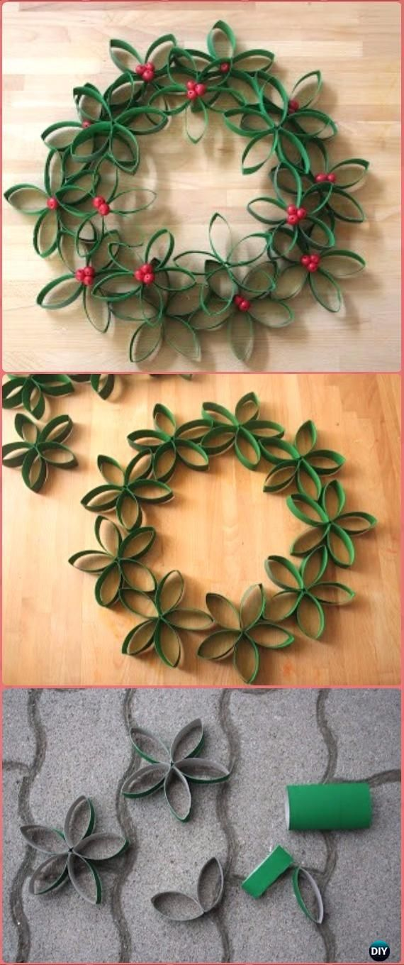 DIY TP Roll Christmas Wreath Tutorial - Paper Roll Christmas Craft Ideas & Projects