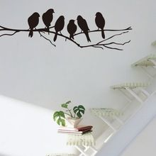 Ücretsiz nakliye: Çıkarılabilir Siyah Kuşlar Ağaç Şube PVC Duvar Çıkartması Sanat Odası Duvar Çıkartmaları Ev Dekorasyonu DIY Odası Dekorasyon(China (Mainland))