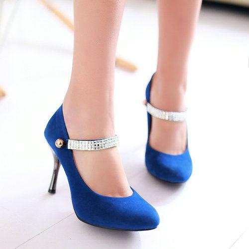 De gran tamaño EE.UU. 4-15 2014 nuevos zapatos de tacón alto Sexy Rhinestone mary janes shoes for women T1hzh-389-23 rebaño otoño vestido de las señoras bombas