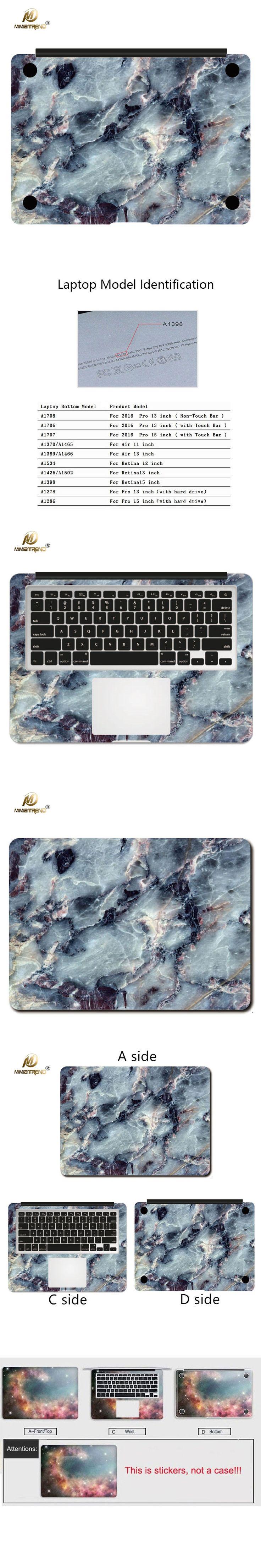 Mimiatrend Marble Grain Vinyl Laptop Skin For Apple Macbook Air Pro Retina 11 12 13 15 Inch Sticker Notebook Computer Stickers