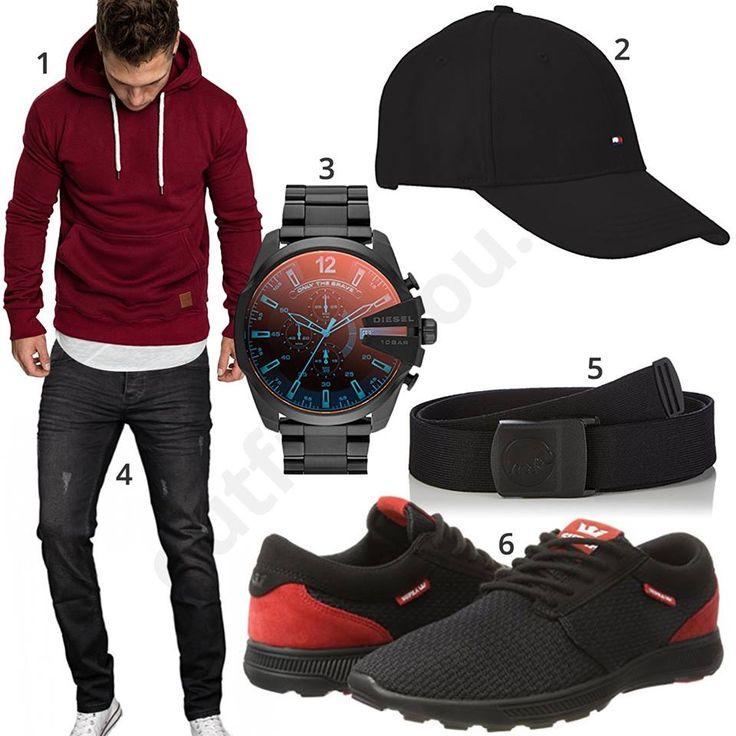 Schwarz-Roter Herren-Style mit Hoodie und Cap – Tlili Zied