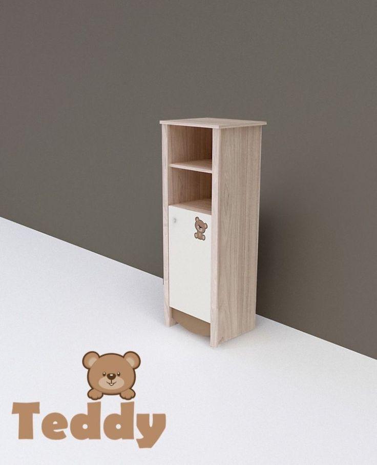 Teddy keskeny nyitott polcos + 1 ajtós szekrény, Teddy keskeny 1 ajtós szekrény, Zsebi Babaáruház