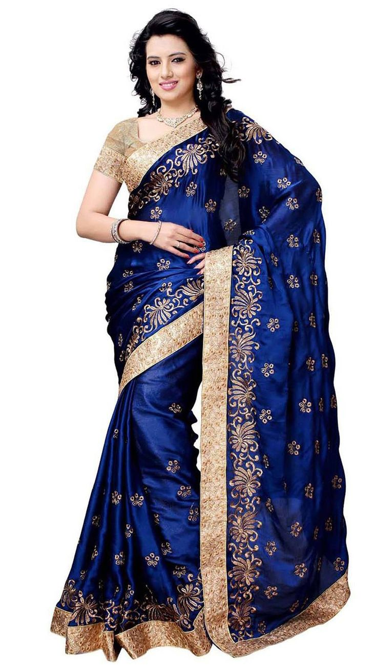 Satin Chiffon Saree With Blouse Pic