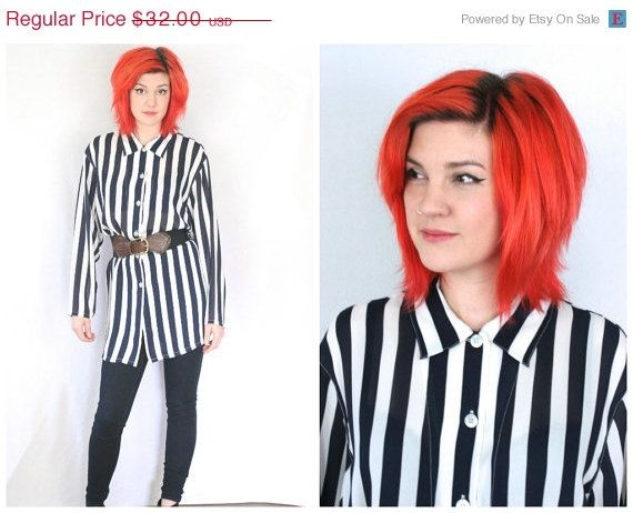 25 OFF 90s Striped Shirt Dress Sheer Over Sized by RadloveVintage