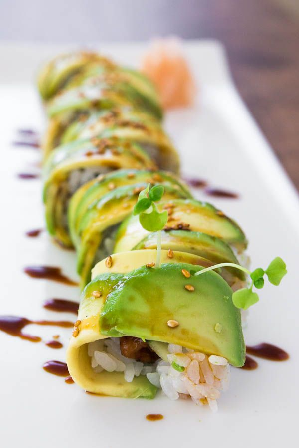 Caterpillar Rolls have sweet and savory unagi with crunchy cucumber on the inside, and creamy avocado on the outside.