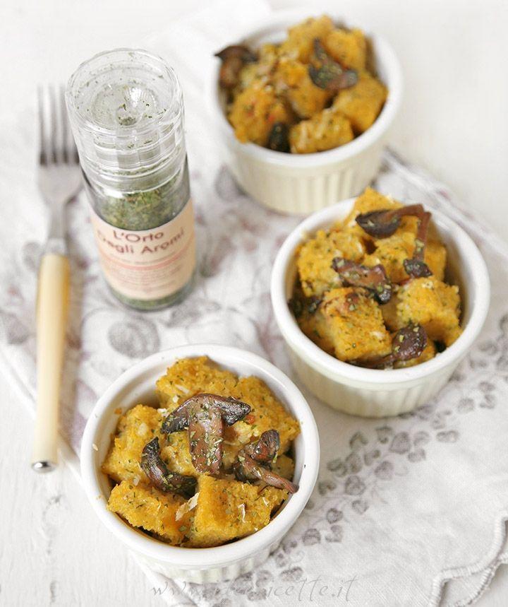 Ricetta Polenta gratinata con funghi porcini e pancetta in coccotte