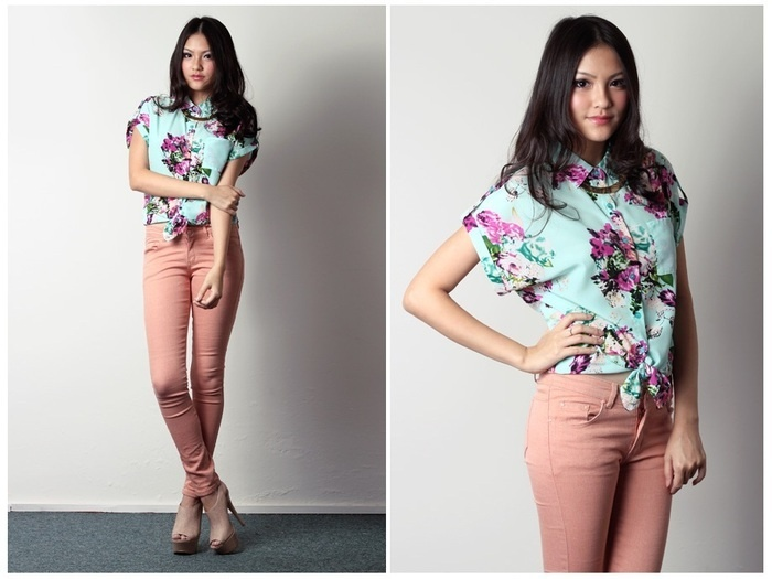 Keeping it cool with graphic prints and military-inspired staples this summer'12! Presenting to you TheVelvetDoll's Preppy Azaleas Shirt in Mint! Sweetness overload.