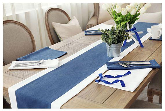 Table Runner Navy Beige Cotton Linen