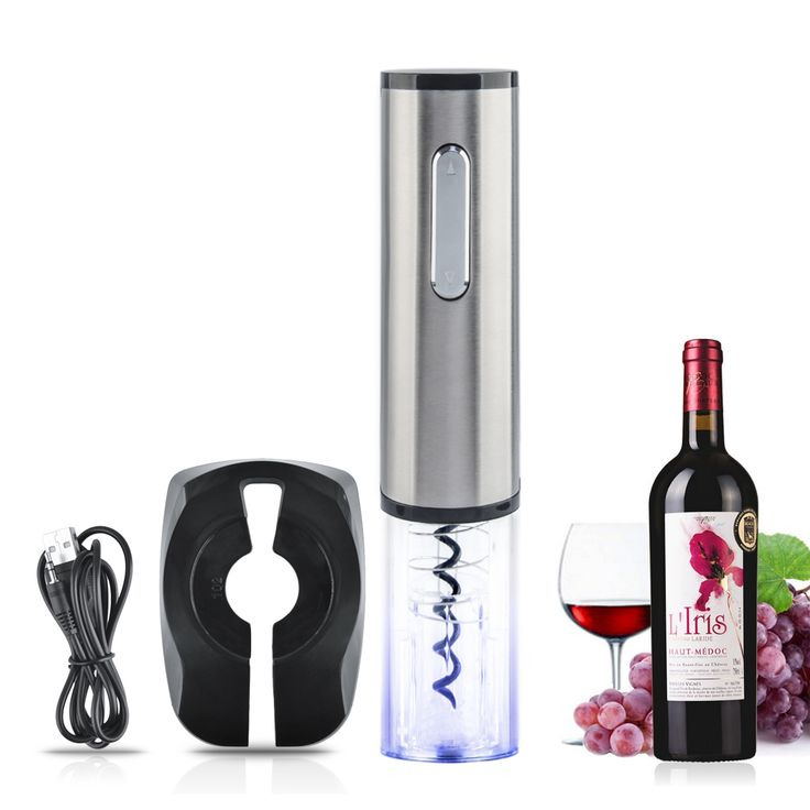 Top Quality Rechargeable Electric Wine Bottle Opener Automatic Wine Opener Corkscrew Bar Tool - Silver + Transparent