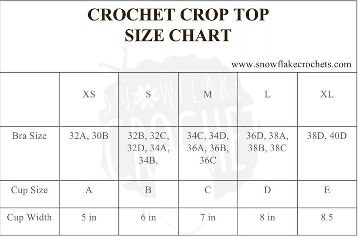 Crochet Crop Top Sizing And Size Chart Snowflake Crochet Crochet Crop Top Crochet Bralette Pattern Crochet Bralette