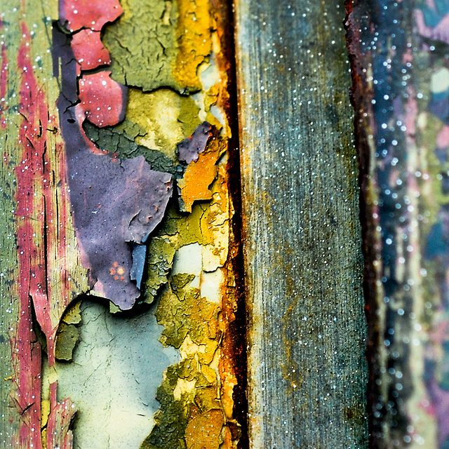Beauty in Decay - colorful rust - peeling, colour & surface texture inspirations