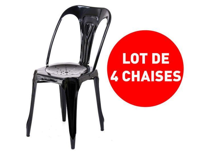 Lot de 4 chaises Industrielles Coloris noir - Conforama Conforama - conforama chaises salle a manger