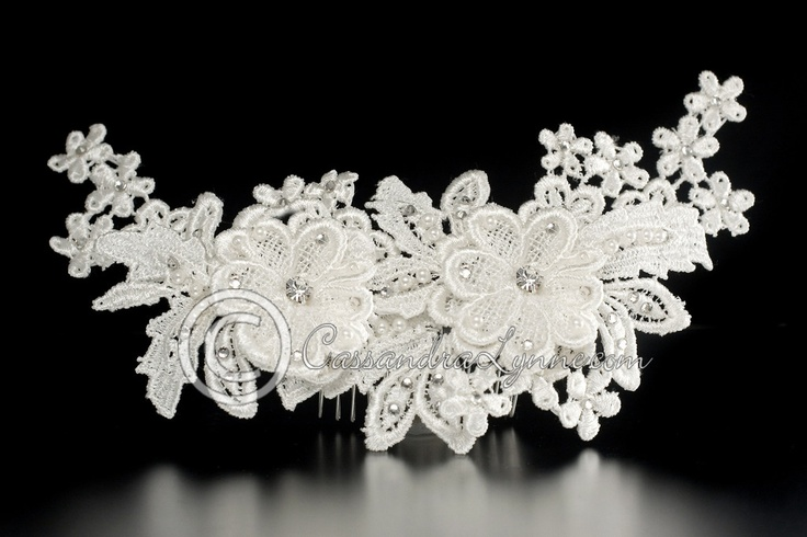 Ivory Lace Flower with Rhinestones Bridal Comb