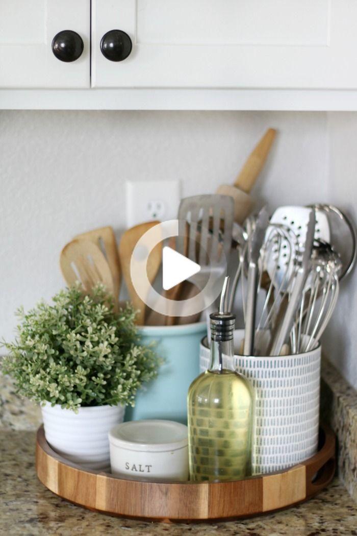 Como El Estilo Y Limpio Encimeras De Cocina Countertop Decor Kitchen Counter Decor Kitchen Countertops