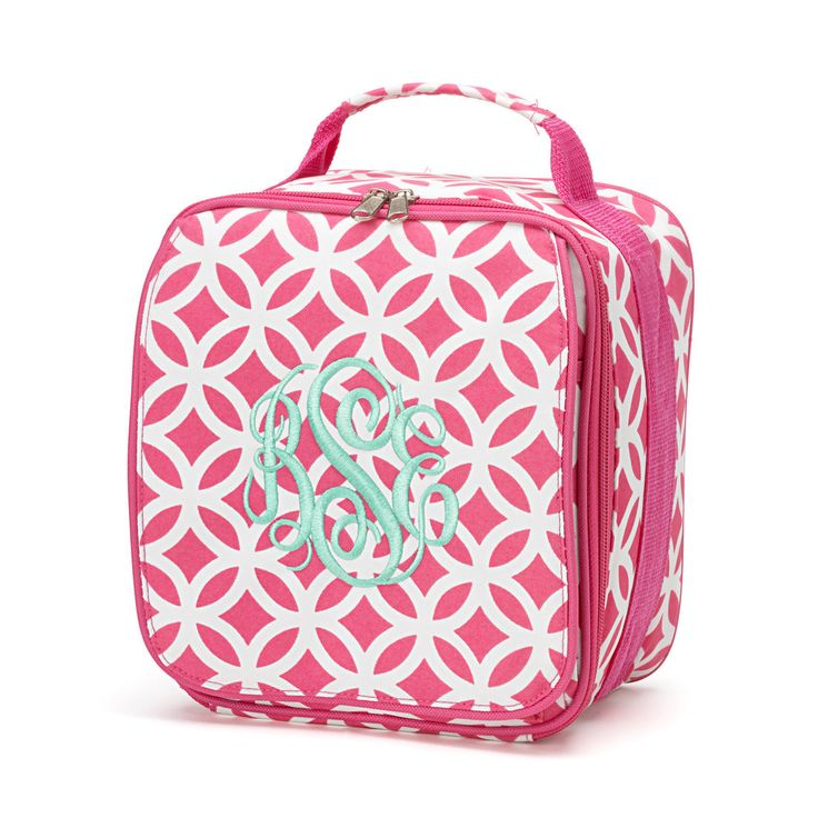 Monogrammed Lunch Box Personalized Lunch Bag Pink Back To School Personalized Gift Kaileys Monogram kaileysmonogram Preschool Toddler by KaileysMonogramShop on Etsy