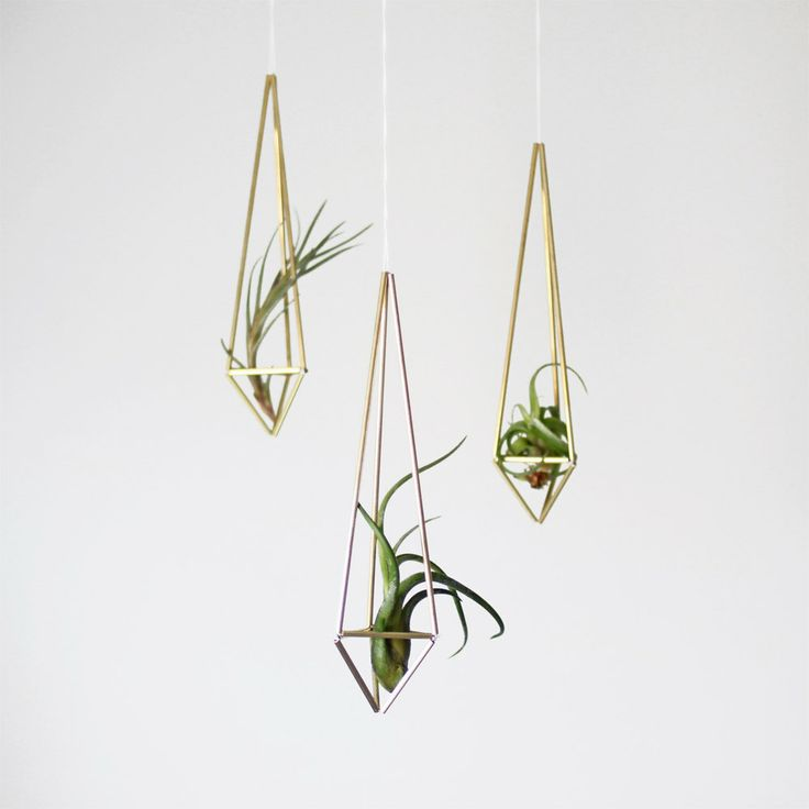 brass himmeli air plant holder / prism ornament / modern hanging mobile. $19.00, via Etsy.