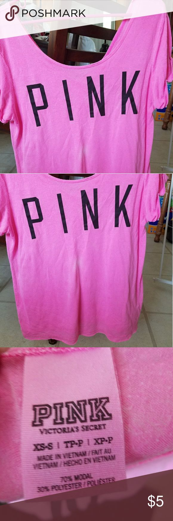 VS PINK hot pink shirt VS PINK loose fitting lounge shirt. in good condition besides small white spot on front of shirt (as pictured above) size xs PINK Victoria's Secret Tops