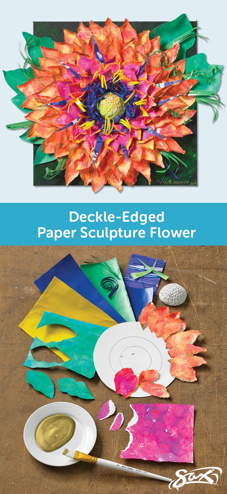 Using basic paper sculpture techniques, you, too, can create your own deckle-edged paper sculpture flower. Art lesson plan includes objectives, directions, materials list, grade levels and correlations to National Core Arts Standards.Created by our Sax Art Consultants.