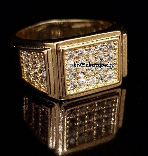14k Yellow Gold Plated VVS1 Diamond Engagement Wedding Pinky Men's Ring 1.50 TCW #br925silverczjewelry #MensWeddingRing #WeddingEngagementAnniversaryBirthdayGift