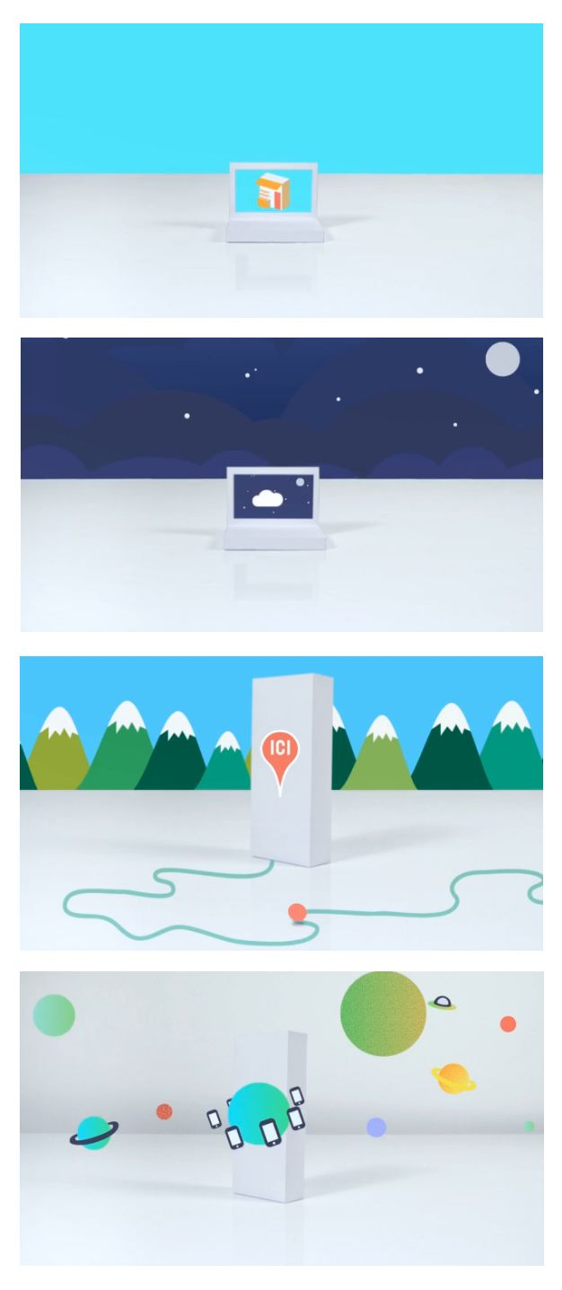 Illustration for an animation presenting the Orange Web App Shop by Sarah Duclent