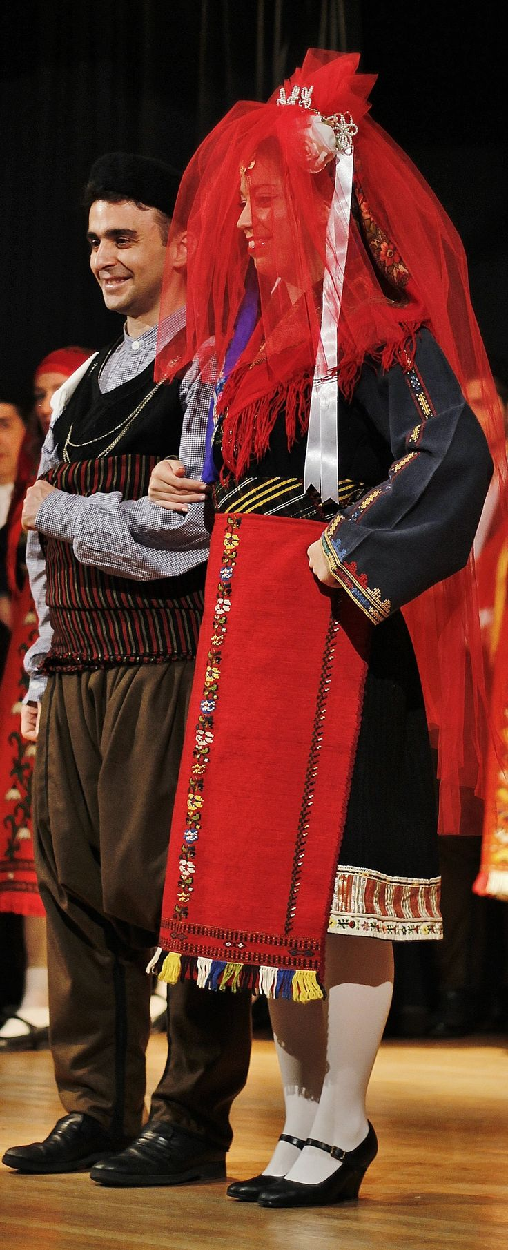 Greek traditional wedding costumes from Kavakli  (now Inzovo, in the Topolovgrad region, southern Bulgaria),  Clothing style: early 20th century.  These are recent workshop-made copies, as worn by folk dance groups.