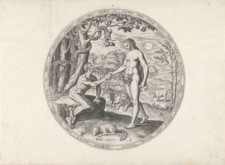 Philips Galle   Eva biedt Adam de verboden vrucht aan, Philips Galle, c. 1569   Eva geeft Adam van de verboden vruchten die ze heeft gekregen van de slang. Adam zit onder de boom van kennis op een steen. De slang windt zich om de stam van de boom, in haar bek een tak met vruchten.