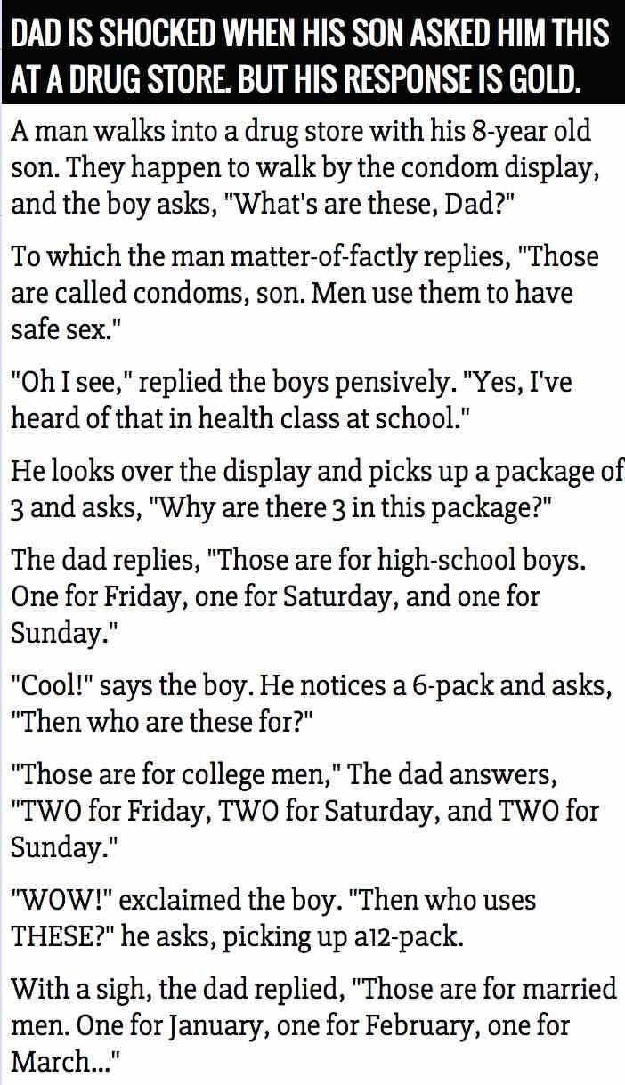 Dad Is Shocked When His Son Asked About Condoms At A Drug Store But His Response Is Gold funny quotes quote jokes story lol funny quote funny quotes funny sayings joke humor stories marriage humor