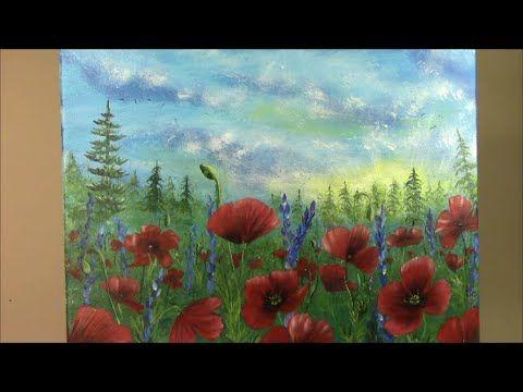 Acrylmalen mit dem Schwamm, Mohnblüten   Acrylic painting with a sponge, poppies - YouTube