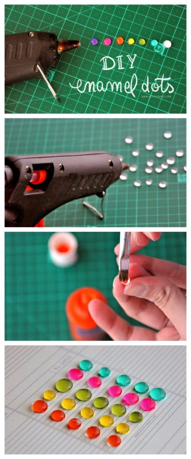 DIY Nail Polish Crafts - DIY Enamel Dots - Easy and Cheap Craft Ideas for Girls, Teens, Tweens and Adults | Fun and Cool DIY Projects You Can Make With Fingernail Polish - Do It Yourself Wire Flowers, Glue Gun Craft Projects and Jewelry Made From nailpolish - Water Marble Tutorials and How To With Step by Step Instructions http://diyjoy.com/nail-polish-crafts