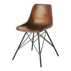 Stuhl im Industry-Stil aus Leder und Metall, braun