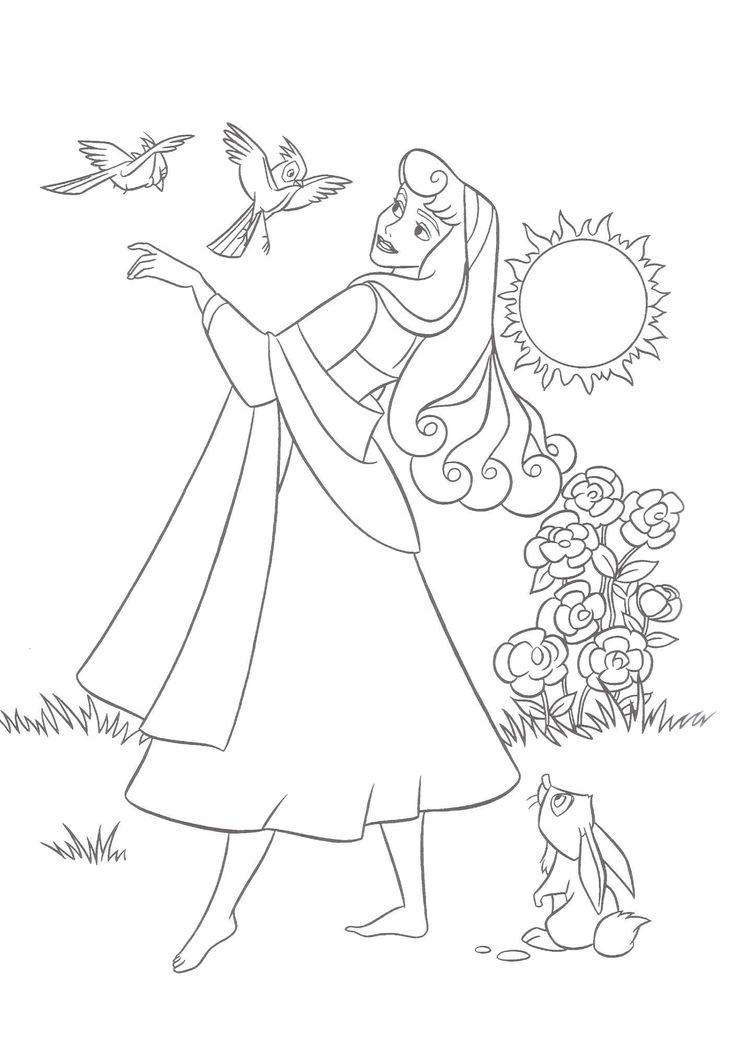 Encantador Cara Princesa Aurora Para Colorear Ilustración - Dibujos ...