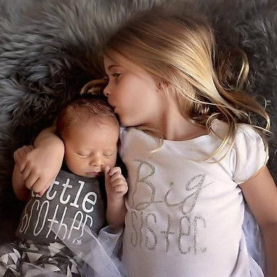 Family Matching Outfits Newborn Baby Kids Famliy Matching Suit Big Sister T-shirt Little Brother Romper