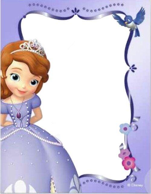tarjeta de invitación de la princesa  sofia