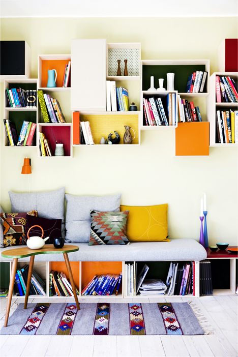 booksbooksbooks: Wall Boxes, Idea, Living Rooms, White Spaces, Books Shelves, Color, Interiors Design, Wall Shelves, Shadows Boxes