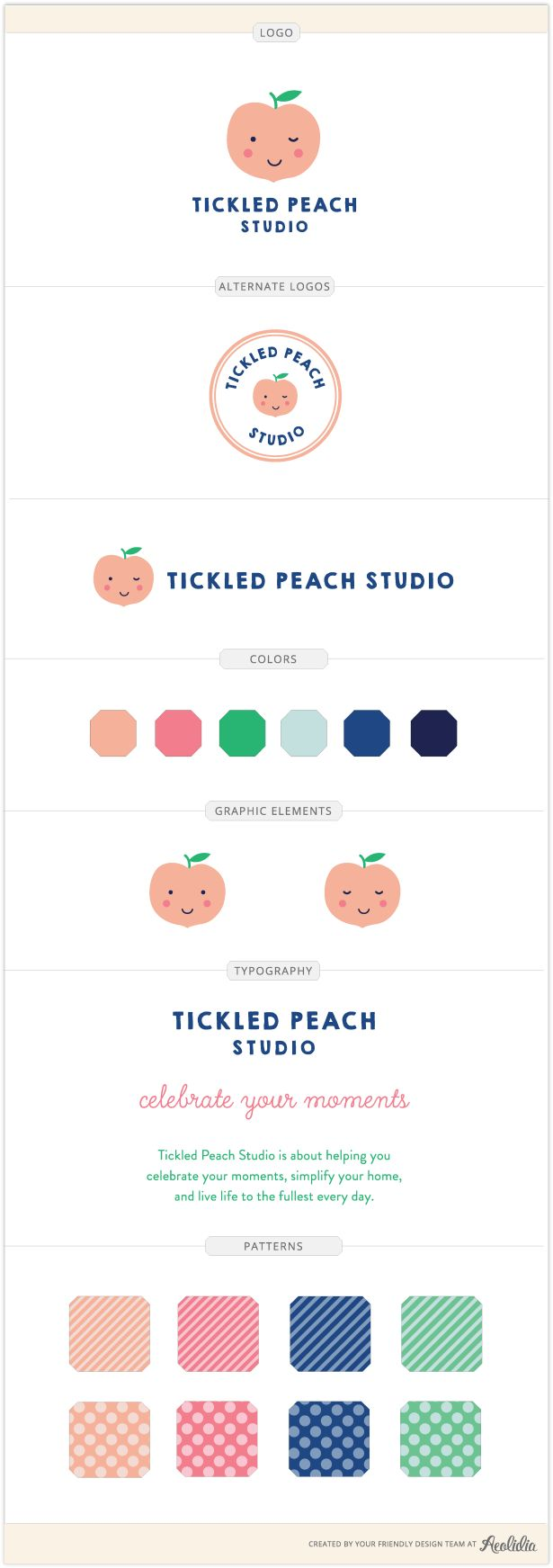 Tickled Peach Studio logo and brand identity by Aeolidia. A sweet, flirty peach becomes the mascot for Tickled Peach Studio. We created a playful and cheery brand with bright graphics and friendly typography to welcome the kids—and kids at heart—who shop Tickled Peach Studio's stationery and products.