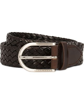 BOSS Naliton Braided Leather Belt Dark Brown